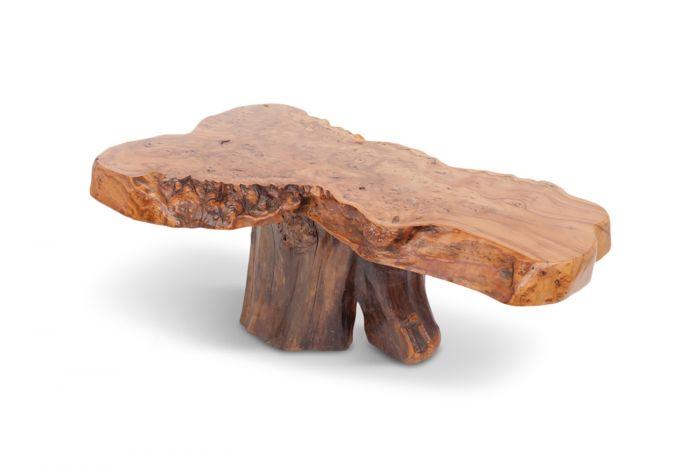 Natural Burl Wood High Gloss Coffee Table - 1970s