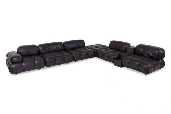 Modular Sofa Camaleonda In Black Leather, Mario Bellini - 1972