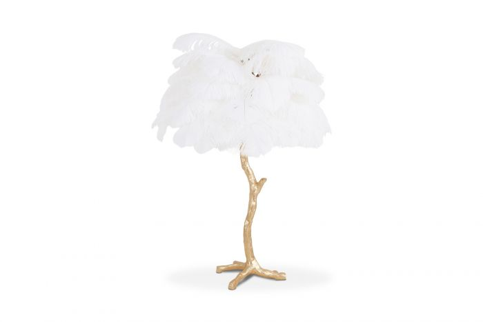 Gold Palm Tree Lamp With White Feathers - 2018