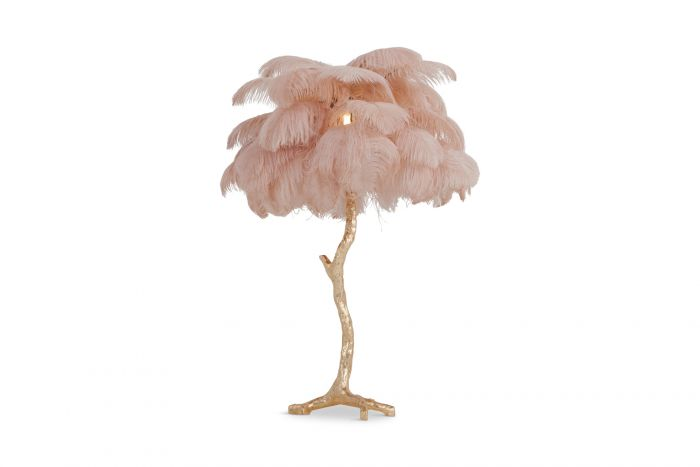 Gold Palm Tree Lamp With Pink Feathers - 2018