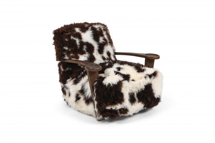 De Coene lounge chair in sheep wool - 1950's