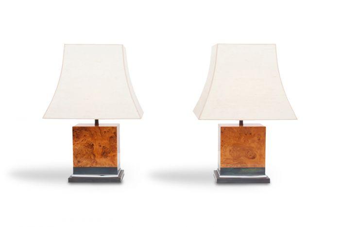 Pair Of Burl Lamps, Jean Claude Mahey - 1970s