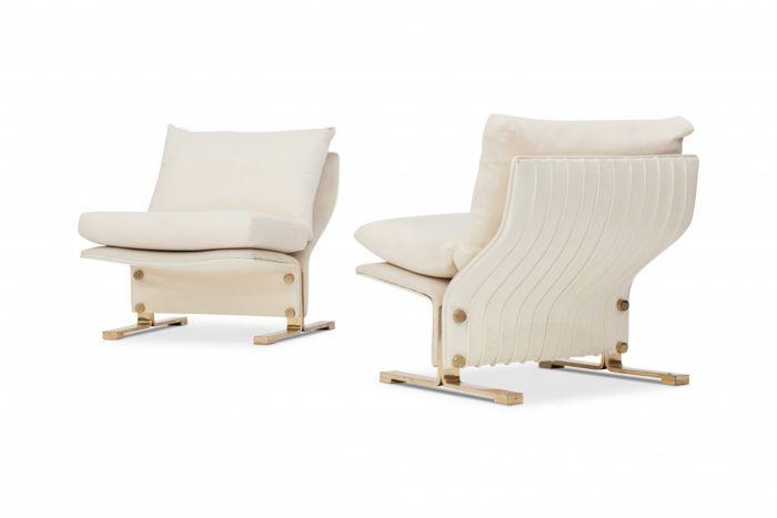 White Leather And Brass Easy Chairs, Marzio Cecchi - 1960s