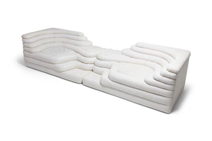 De Sede 'Terrazza' Sofas DS 1025 in White Leather  by Ubald Klug & Ueli Berger - 1972