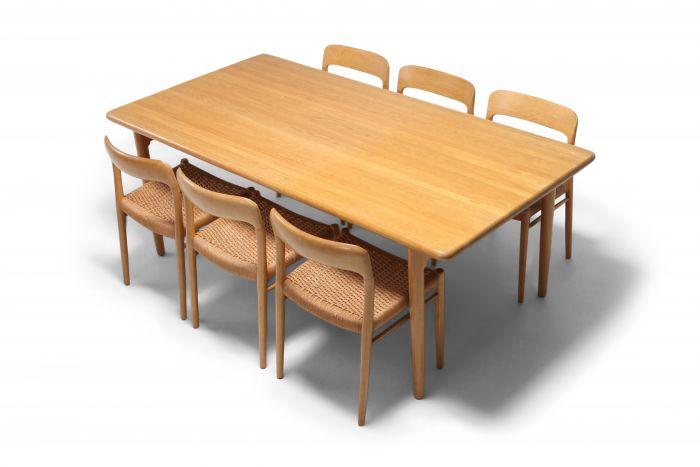Scandinavian Modern Dining Set in Oak by N.0. Möller for J.L. Moller - 1970s