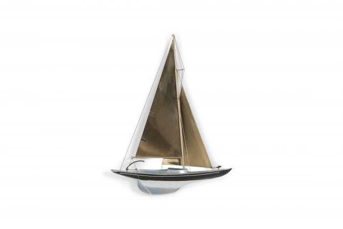 Brass Racing Sail Boat Wall Mount Sculpture by Curtis Jere - 1995