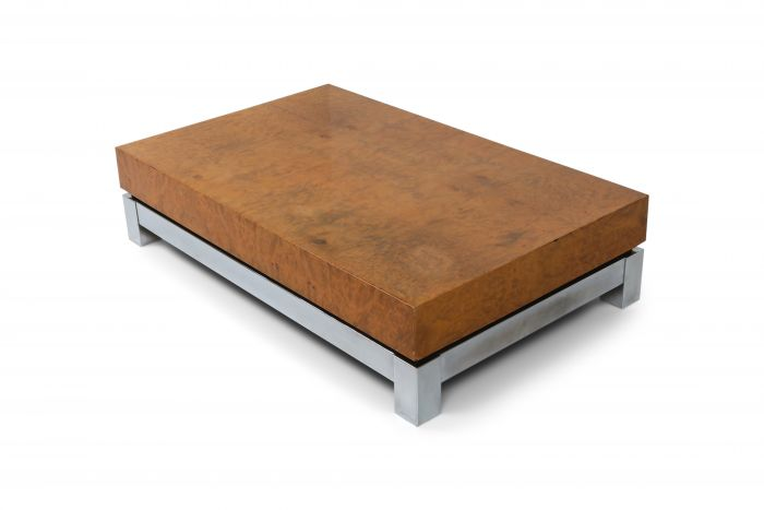 Burl and Chrome Coffee Table in style of Claude Mahey - 1970s
