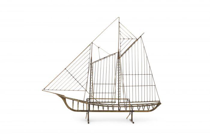 Curtis Jere Brass Boat Sculpture - 1988