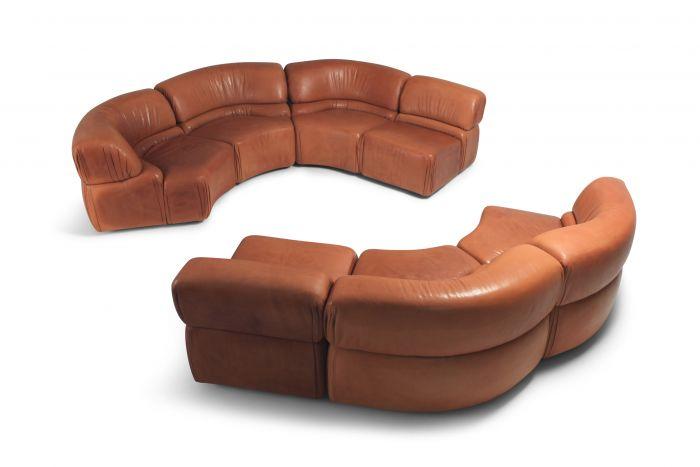 Sectional Cognac Leather Sofa 'Cosmos' by De Sede Switzerland - 1970s