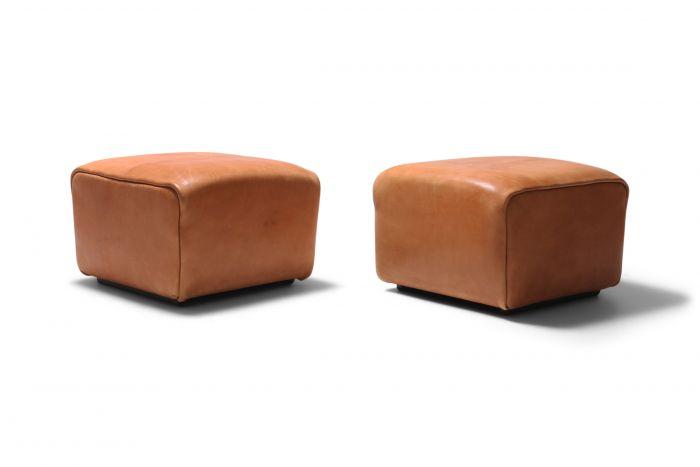 De Sede DS Cognac Leather Ottomans - 1970s