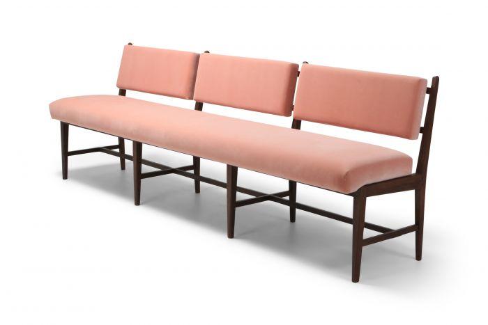 Mid-century Scandinavian Modern Bench In Pink Velvet & Wenge - 1960s