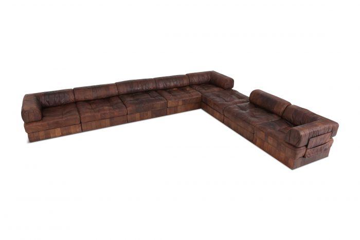 De Sede DS88 Modular Brown-Cognac Leather Patchwork Sofa - 1970s
