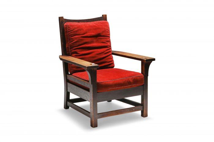 Gustav Stickley Oak Armchair with Red Velvet - 1900s