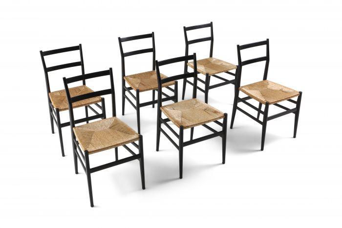Gio Ponti Leggera dining chairs black and cord - 1980's