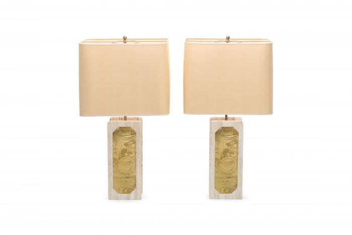 George Matthias Pair of Brass Etched and Travertine Lamps - 1970s