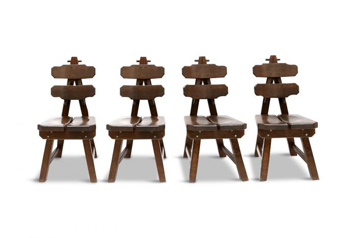 Stained Oak Chairs, Brutalism - 1930s