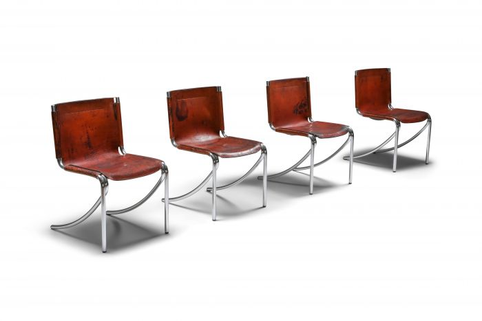 Giotto Stoppino Leather and Chrome Dining Chairs Model Jot - 1970's