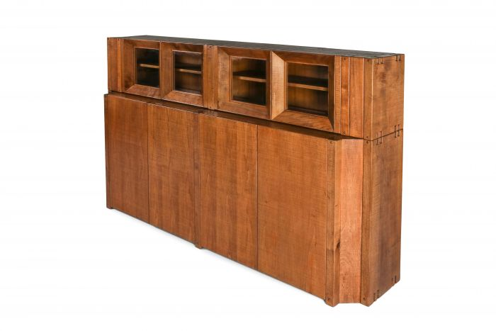 Rivadossi Solid Walnut Credenza with Vitrine Top, Italy - 1970's