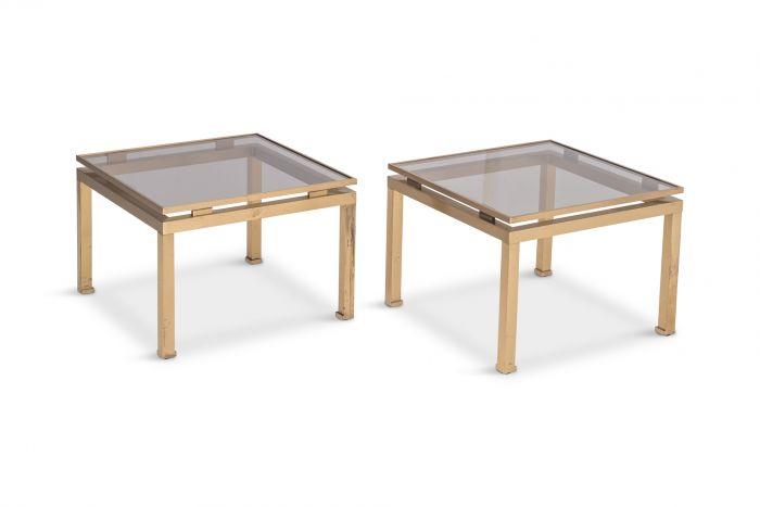 Guy Lefevre Side Tables in Brass & Smoked Glass for Maison Jansen - 1970s