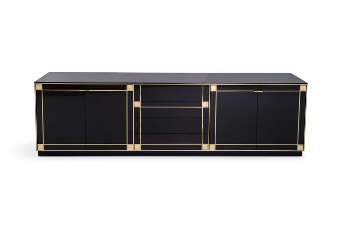 Pierre Cardin Large Black Lacquered Sideboard With Brass Details - 1980's