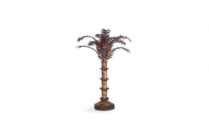 Maison Jansen Style Palmtree Table Lamp In Copper - 1970s