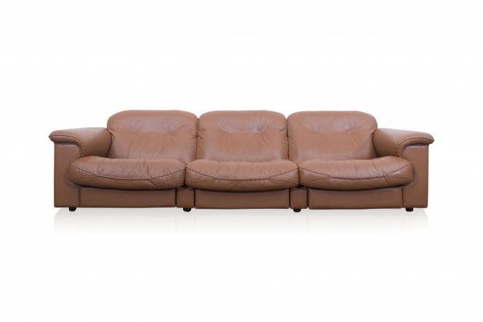 De Sede Brown Leather Three Seater Sofa - 1960s