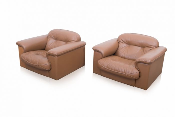 De Sede Brown Leather Lounge Chairs - 1960s