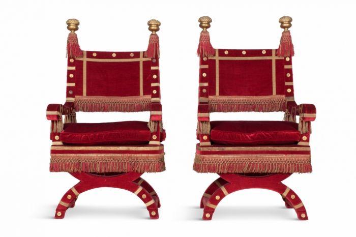 Red Velvet Italian Throne Chairs - 1940s
