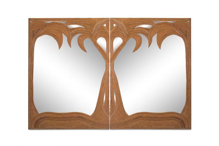 Vivai del Sud pair of Bamboo Palmtree Mirrors - 1970s