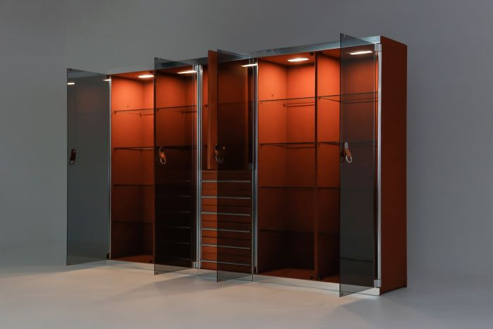 Italian design dresser in cognac leather, chrome and black glass for Hermès - 1970s
