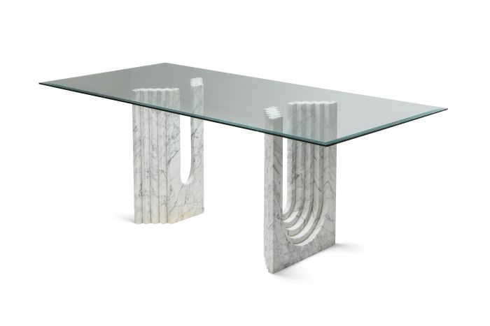 Carrara White Marble Dining Table Scarpa - 1970s