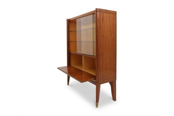 Mahogany Art Deco Vitrine Cabinet, De Coene Frères - 1950s