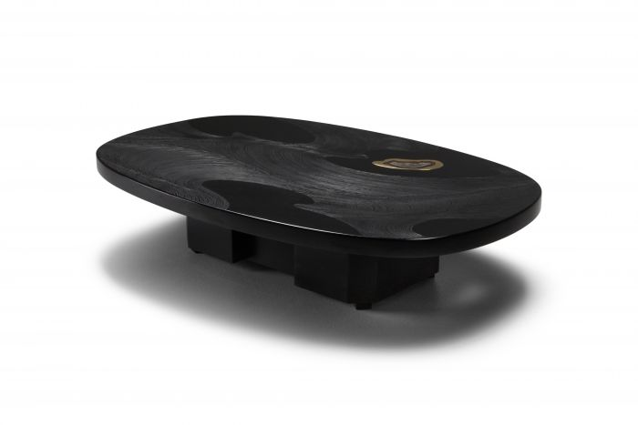 Metropolitan Chic Black Resin with Agate Coffee Table by Dresse - 1980s