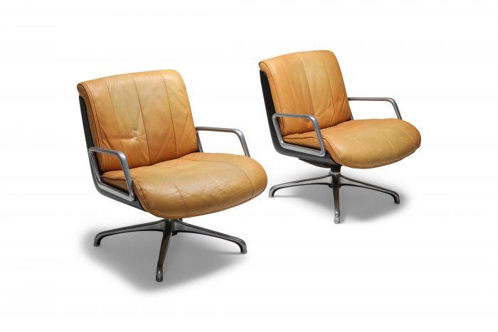 Saporiti Cognac Leather Lounge Chairs - 1970s