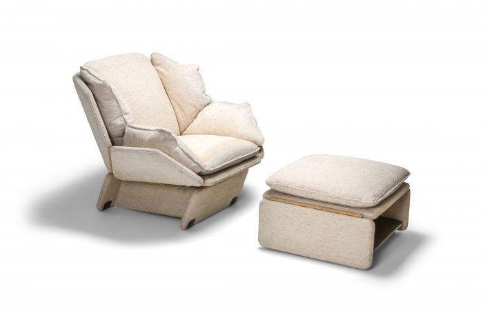 John Lautner Style Lounge ChairsIn Cream Wool - 1970s