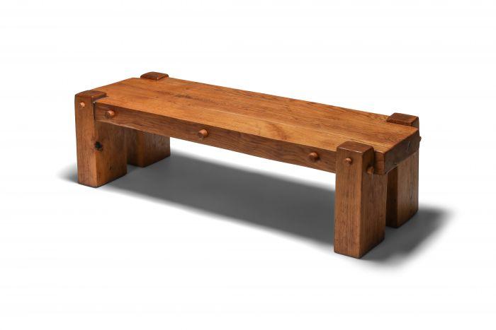 Rustic Modern Rectangular Coffee Table in Solid Oak - 1960s