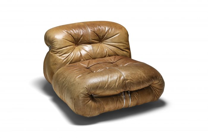 Soriana Lounge Chair in Brown Leather by Afra & Tobia Scarpa - 1960's