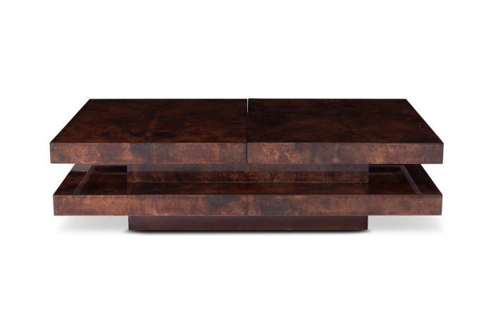 Aldo Tura Two Tier Sliding Coffee Table With Hidden Bar - 1970s