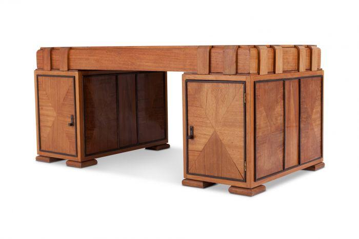 French Art Deco Desk In Grand Oak - 1960s
