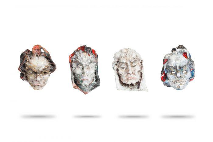 Ceramic Multicoloured Masks, Fontana - 1962