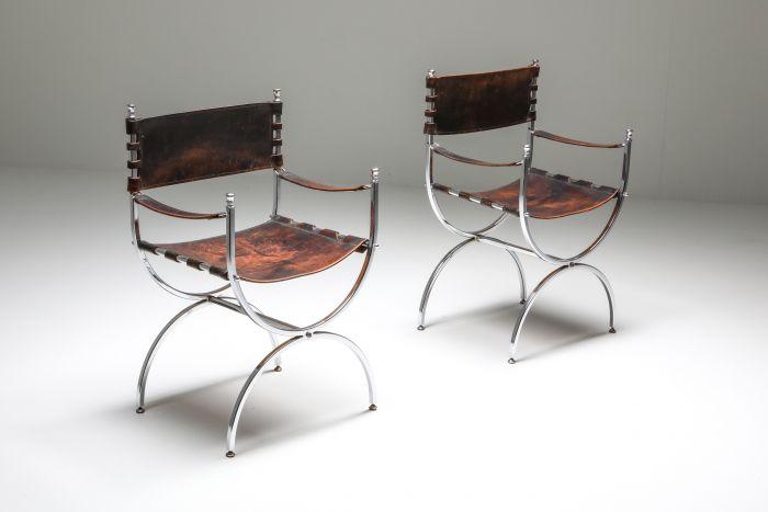 Set of 3 Maison Jansen Leather and Chrome