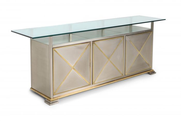 Maison Jansen Credenza with Clear Glass Top - 1970s