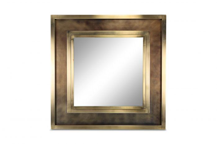 Maison Jansen Impressive Brass Wall Mirror - 1980s