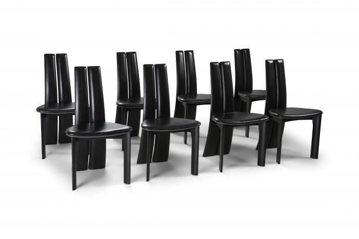 Belgian Postmodern Ebonized Oak Chairs by Van den Berghe-Pauvers - 1980s