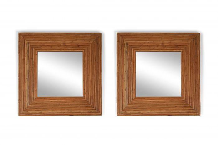 Vivai del Sud pair of rattan mirrors - 1970s