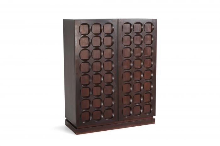 Brutalist mahogany bar cabinet De Coene - 1970s