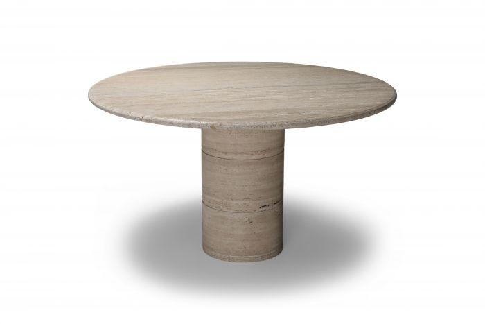 Angelo Mangiarotti round travertine dining table - 1970s