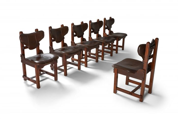 Oak and Leather Brutalist Chairs - 1970s