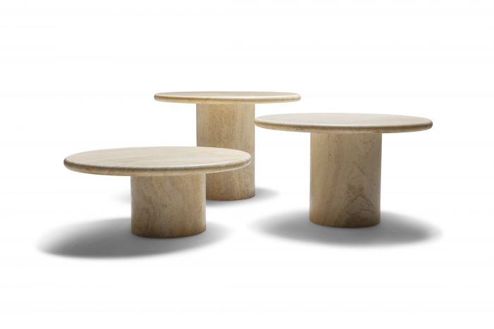 Travertine set of round side tables - 1970's
