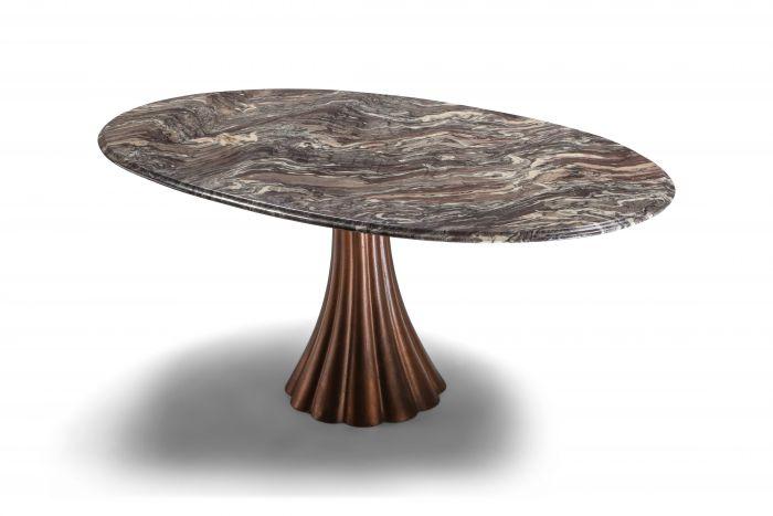 Angelo Mangiarotti marble table on metallic cast base - 1970's